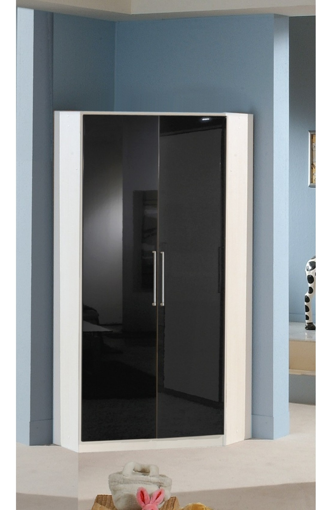 2018 Black Corner Wardrobes Inside Slumberhaus 'gamma' German Made Modern White & Black Gloss 2 Door (View 2 of 15)