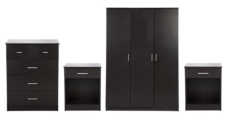 2018 Black Gloss 3 Door Wardrobes Throughout Panama 4 Piece Bedroom Furniture Sets – 3 Door Wardrobe, 3+2 Chest (View 15 of 15)