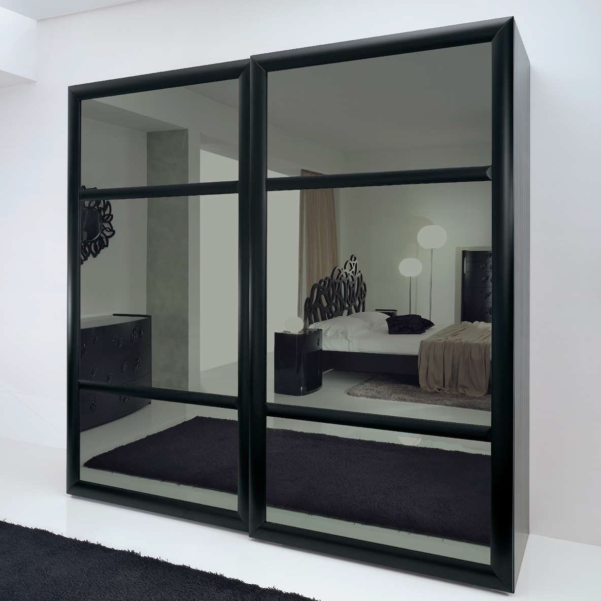 2018 Black Wood Wardrobes With 15 Ideas Of Dark Wood Wardrobes With Mirror (View 1 of 15)