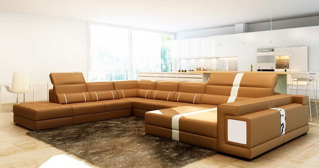 2018 Camel Leather Sectional Sofa With Ottoman Vg (View 5 of 10)