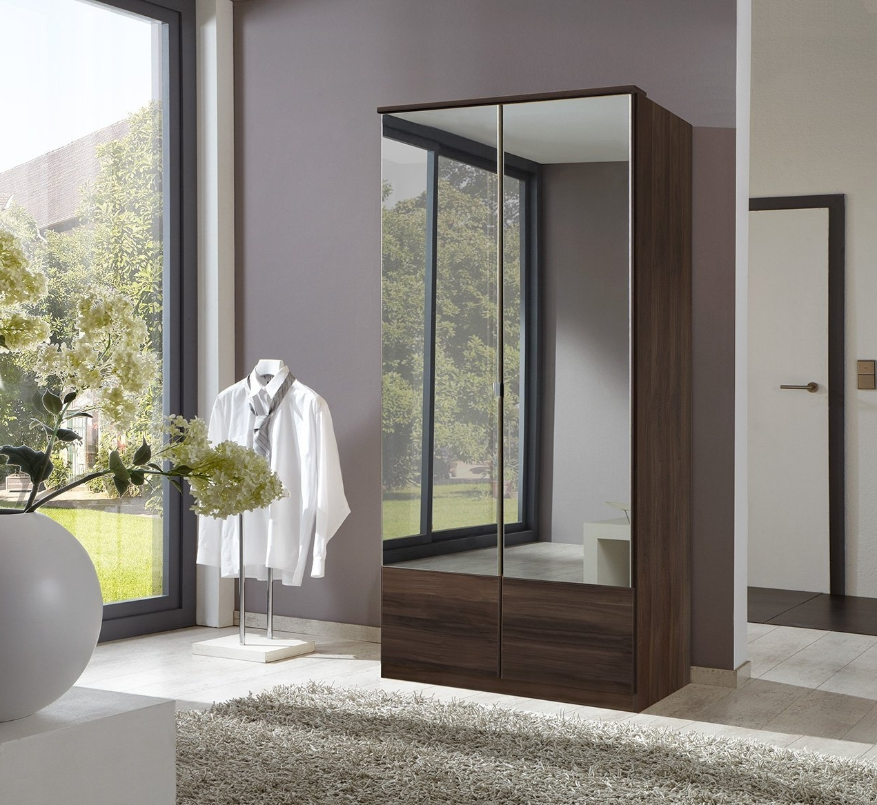 2018 Cheap Wardrobes With Mirrors Throughout German Imago Light Oak 2 Door Mirror Door Wardrobe: Amazon.co (View 1 of 15)