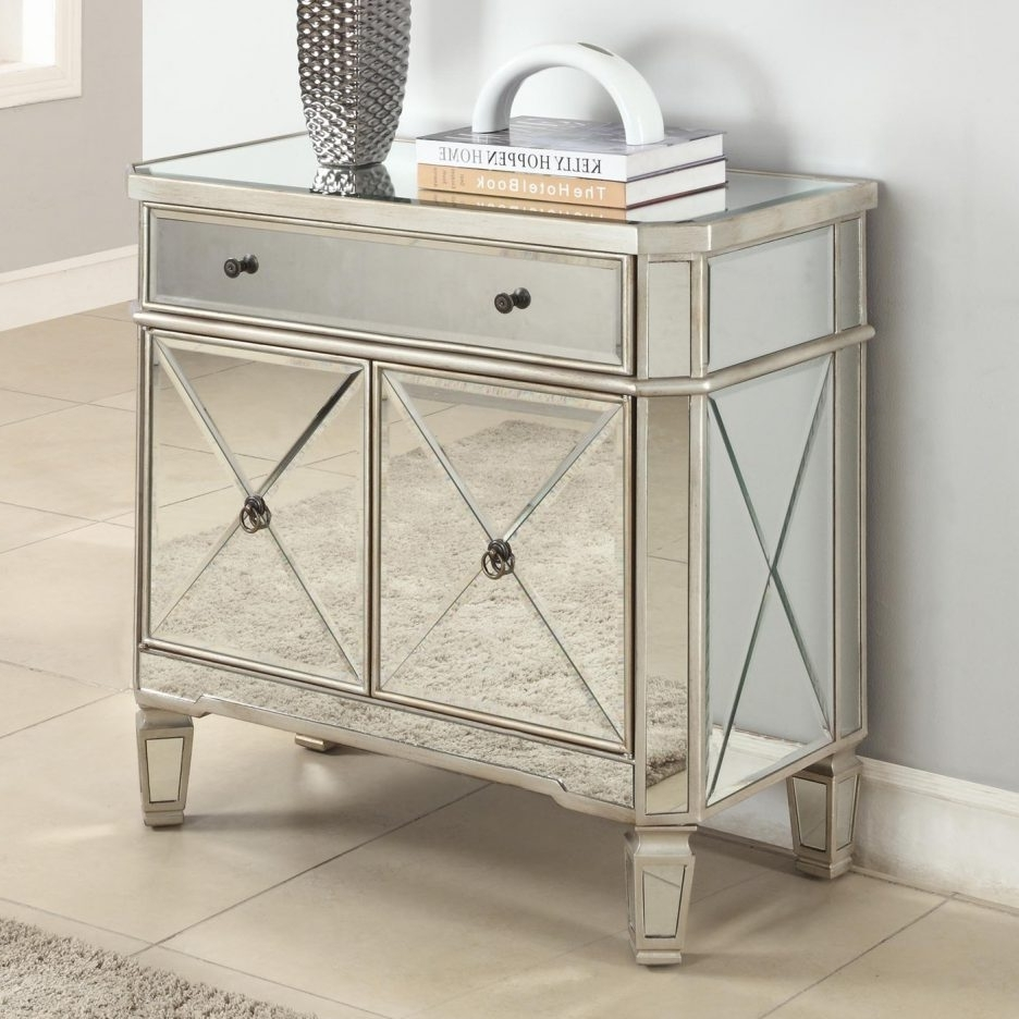 2018 Console Tables : Small Mirror Console Table Romano Mirrored With Regard To Romano Mirrored Wardrobes (View 1 of 15)