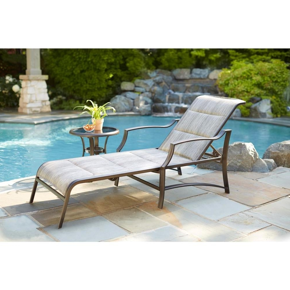 2018 Hampton Bay Statesville Padded Patio Chaise Lounge Fls70310 – The In Patio Chaises (View 1 of 15)