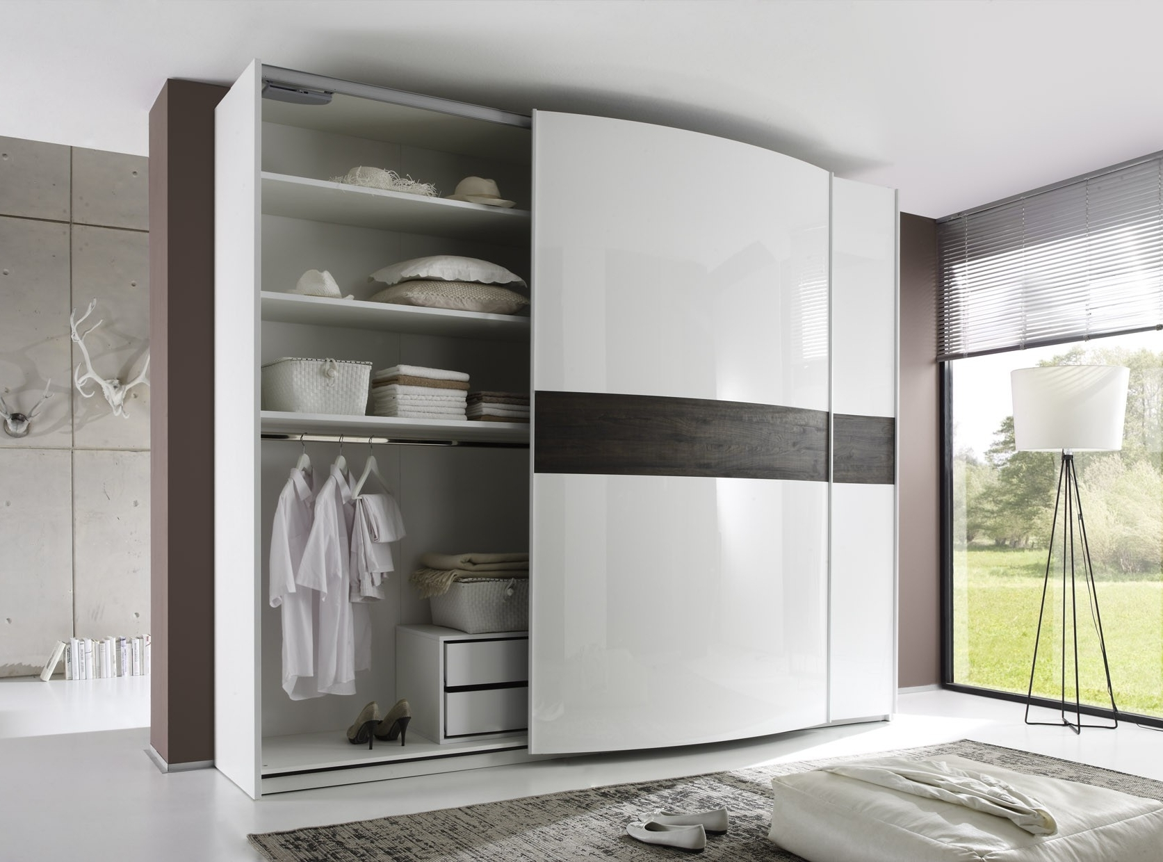 2018 High Gloss Sliding Wardrobes Throughout Tambura Curved Sliding Doors Wardrobe, White + Wenge Buy Online At (View 1 of 15)