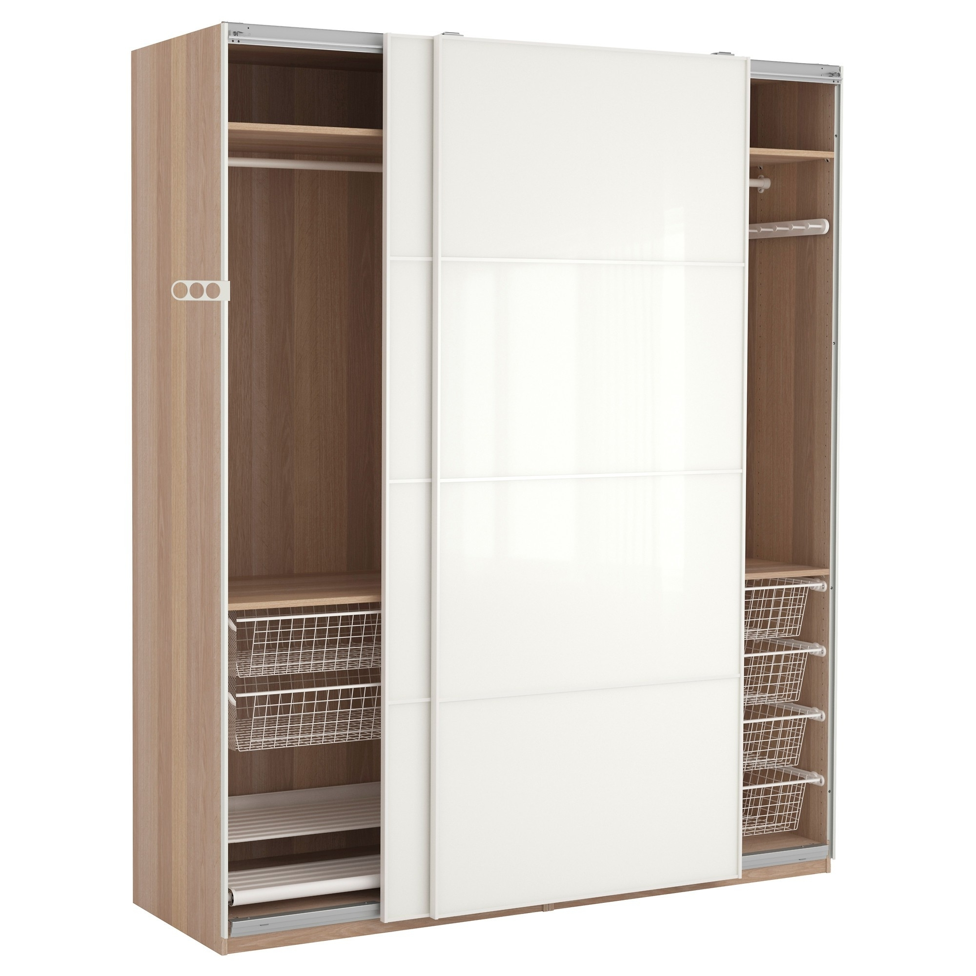 2018 Large White Wardrobes With Drawers For Large White Wooden Wardrobe With Silver Steel Drawers And Combined (View 1 of 15)