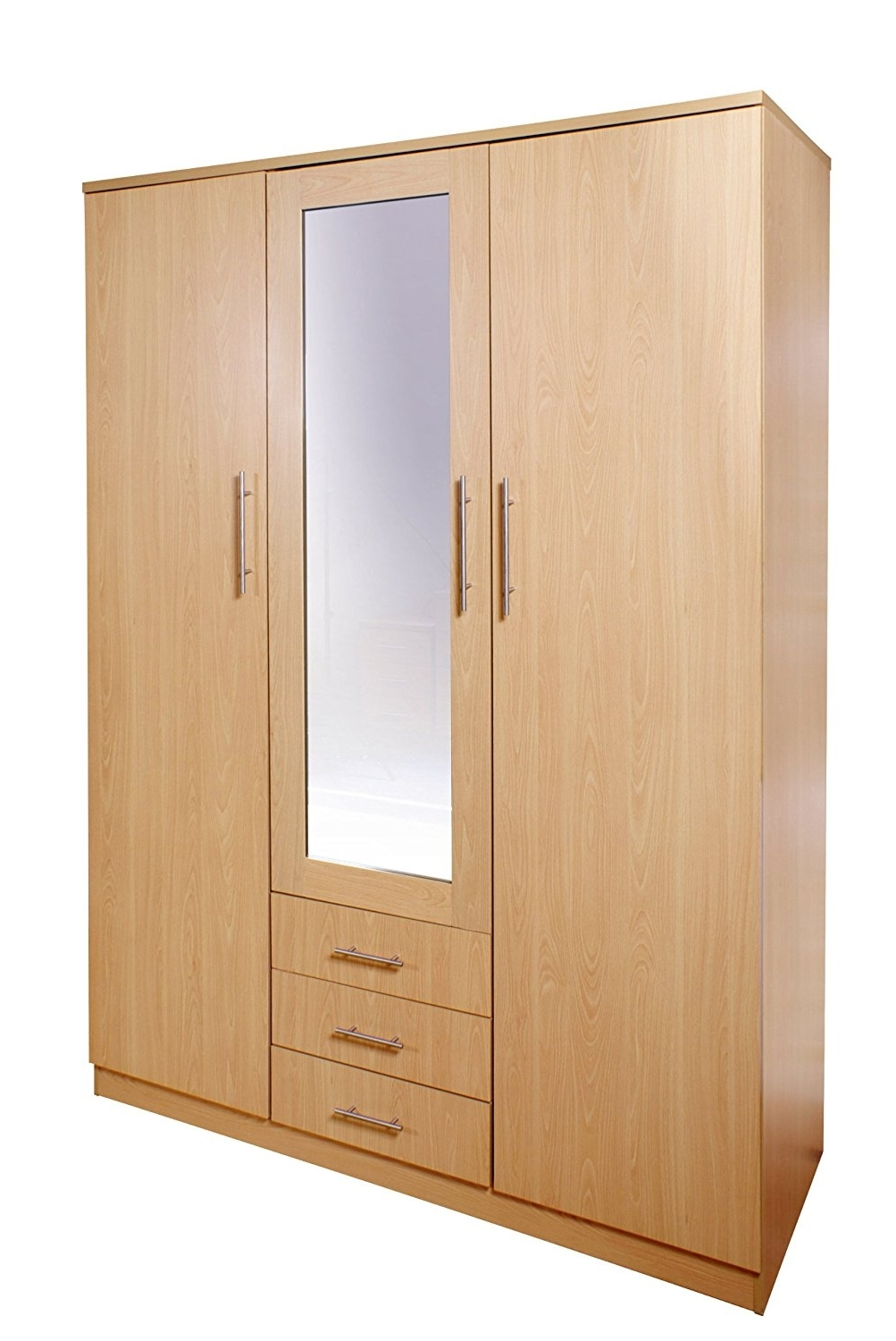 2018 Las Vegas Beech Bedroom Furniture Range – 3 Door Wardrobe With With Cheap Wood Wardrobes (View 2 of 15)