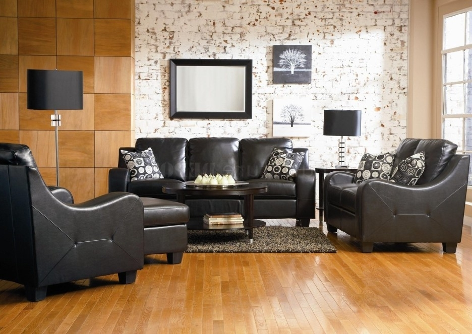 2018 Living Room Modern Living Room Decoration With Black Leather Sofa Pertaining To The Brick Leather Sofas (View 4 of 10)