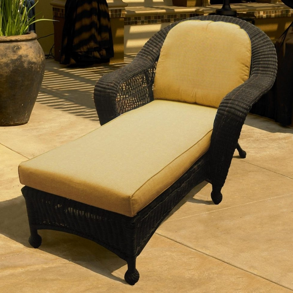 2018 Lounge Chair : Chaise Lounge With Cushions Wicker Armchair Outdoor Within Wicker Chaise Lounges (View 3 of 15)