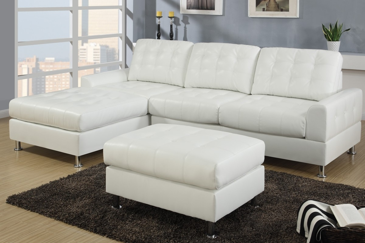 2018 Modern Classic Cream White Bonded Leather Sectional Sofa With Regarding Reversible Chaise Sofas (View 1 of 15)