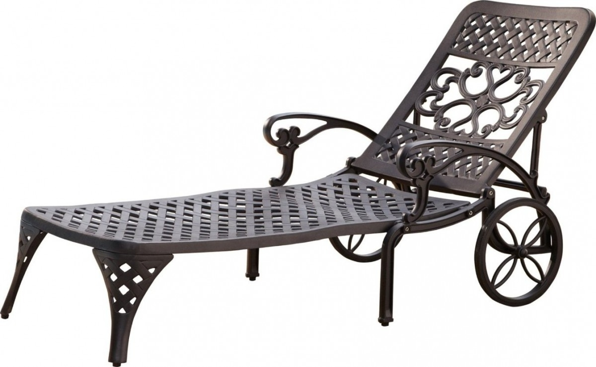 2018 Outdoor Metal Chaise Lounge Chairs Pertaining To Home Styles Biscayne Outdoor Chaise Lounge Chair With Wheels (View 13 of 15)
