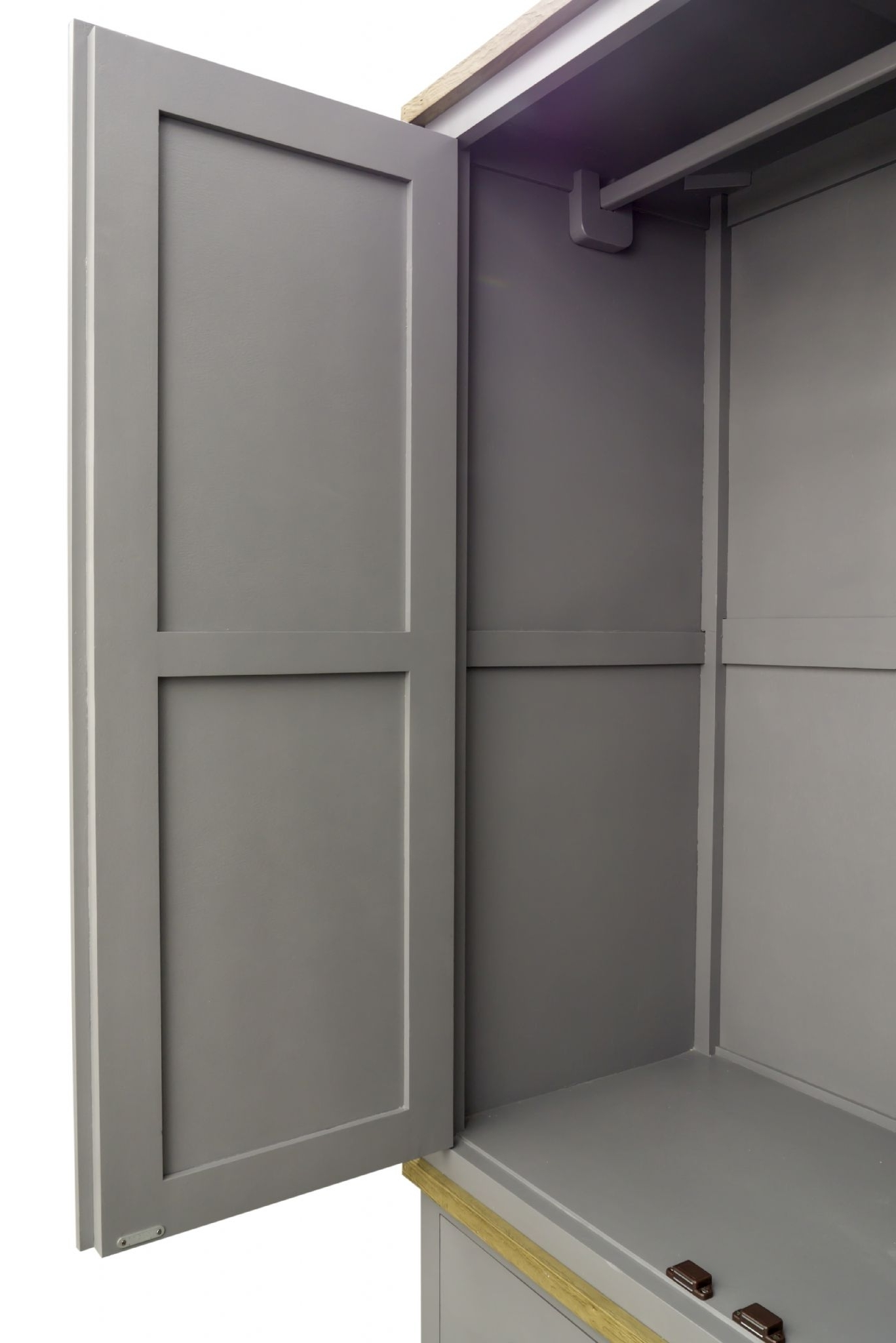 2018 Pine Shabby Chic Storm Grey Double Wardrobe Within Shabby Chic Pine Wardrobes (View 1 of 15)