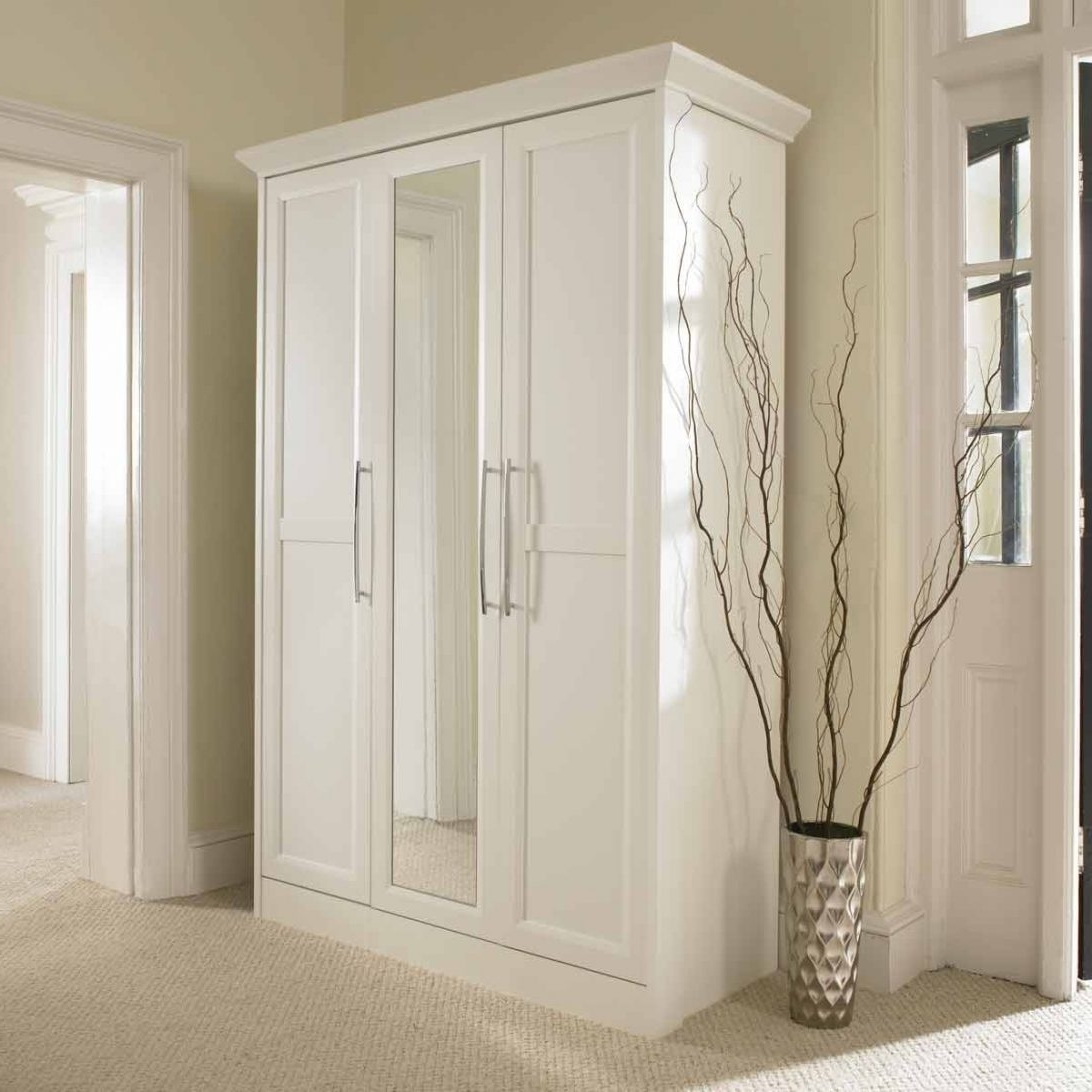 2018 Single White Wardrobes With Mirror Regarding Bergen Wardrobe White With Mirror Doors Single Cheap Shabby Chic  (View 2 of 15)