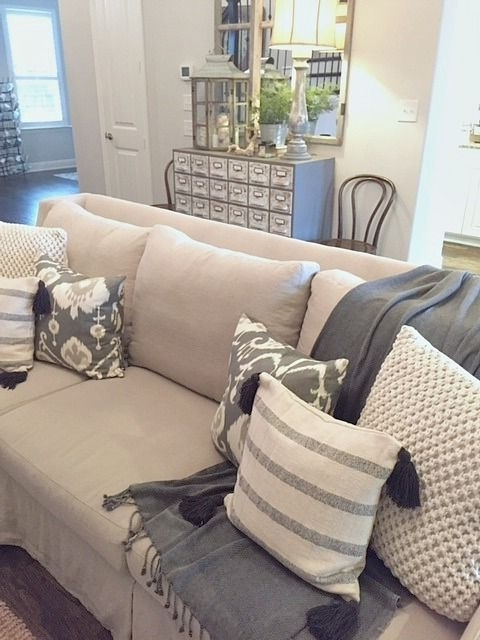 2018 Sofas With Oversized Pillows Inside Sofa Endearing Big Cushion Large Throw Pillows For Fl On Oversized (View 2 of 10)
