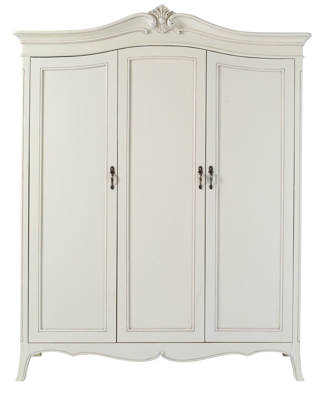 2018 Triple Door Wardrobes For Louis French Ivory Painted 3 Door Triple Wardrobe (View 1 of 15)