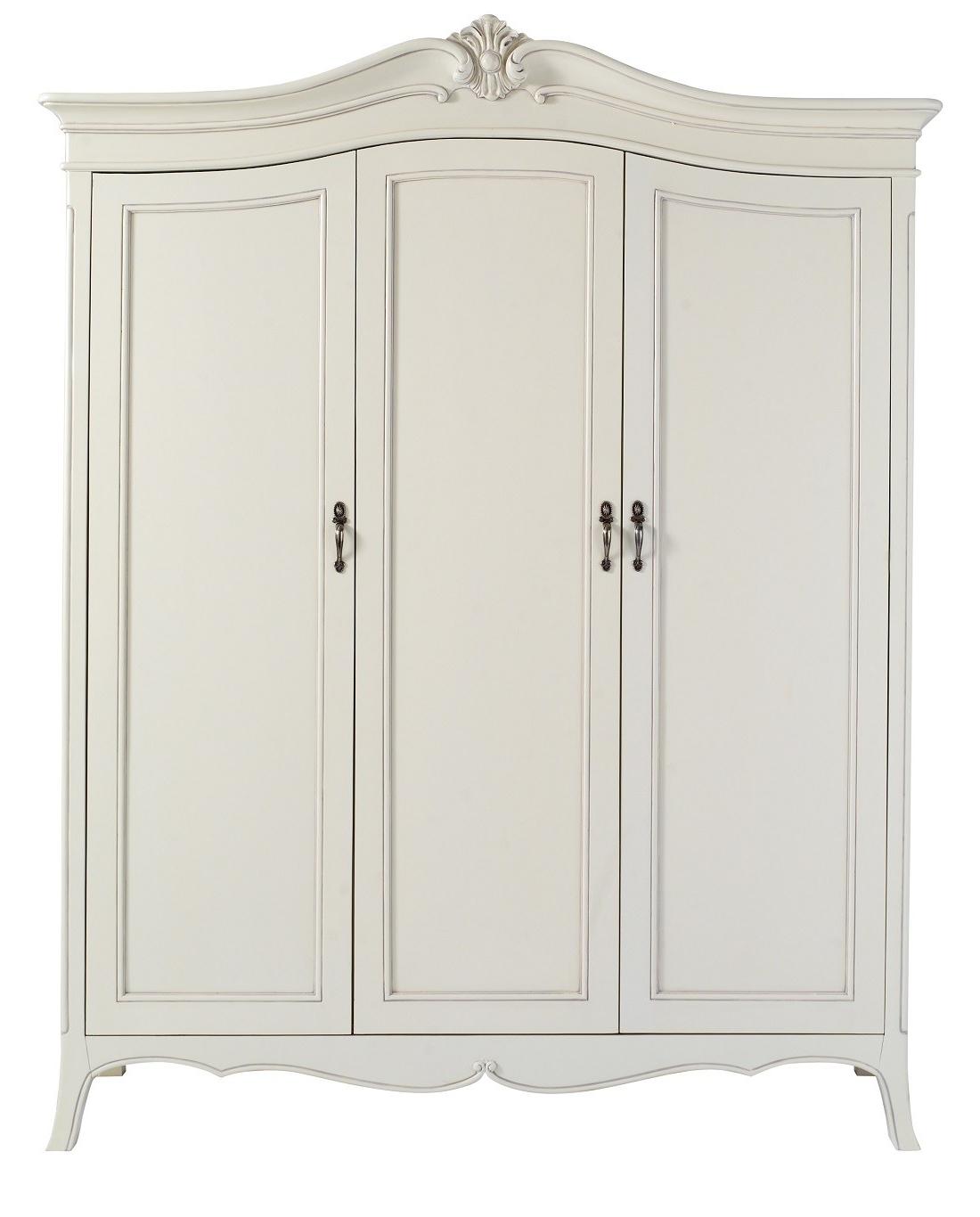 2018 Triple Door Wardrobes For Louis French Ivory Painted 3 Door Triple Wardrobe (View 15 of 15)