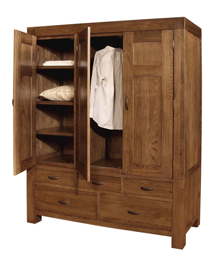 2018 Triple Oak Wardrobes Pertaining To Santana Oak Triple Wardrobe (View 1 of 15)