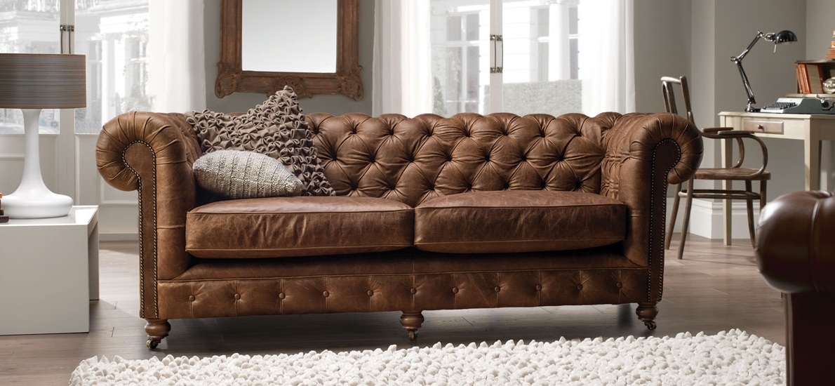 2018 Vintage Chesterfield 3 Seater Leather Sofa (View 9 of 10)
