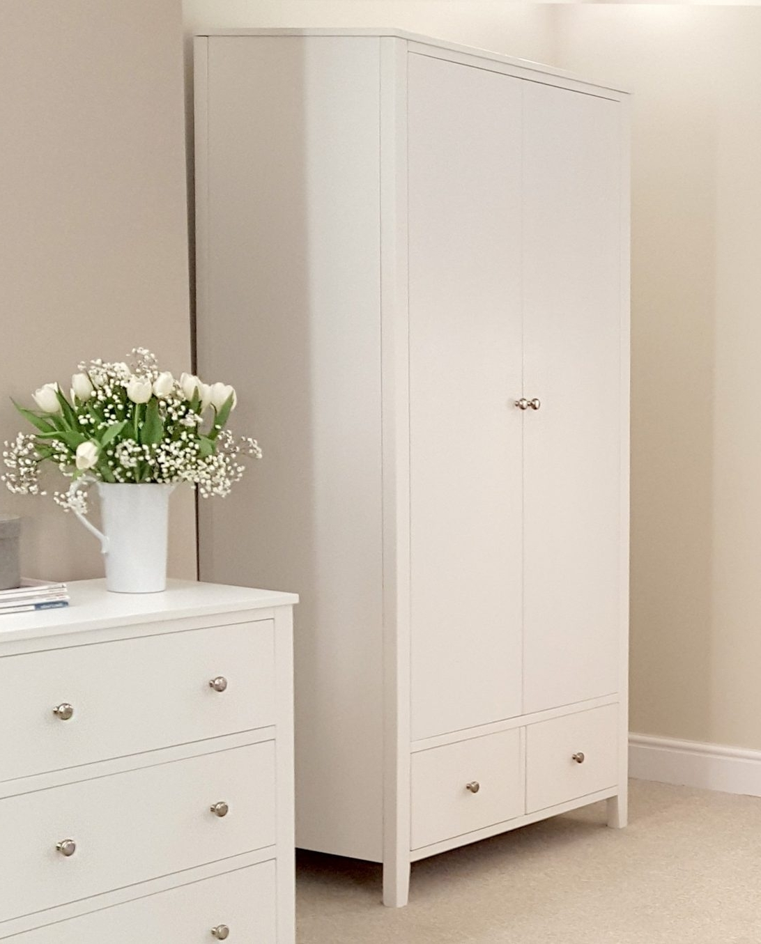 2018 White Double Wardrobe With Drawers 2 Door And Mirror Ikea Large With Large White Wardrobes With Drawers (View 2 of 15)