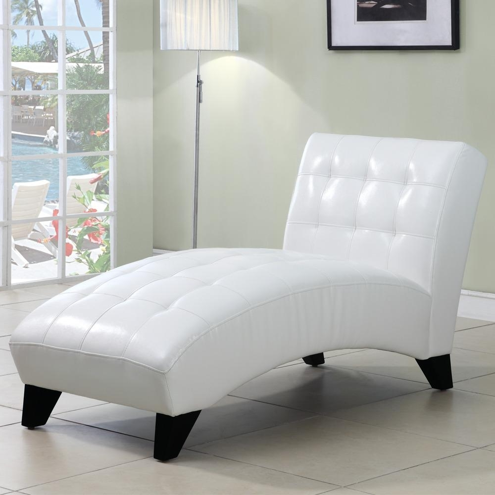 2018 White Leather Chaises Inside Chaise Lounge Chair White Leather • Lounge Chairs Ideas (View 2 of 15)