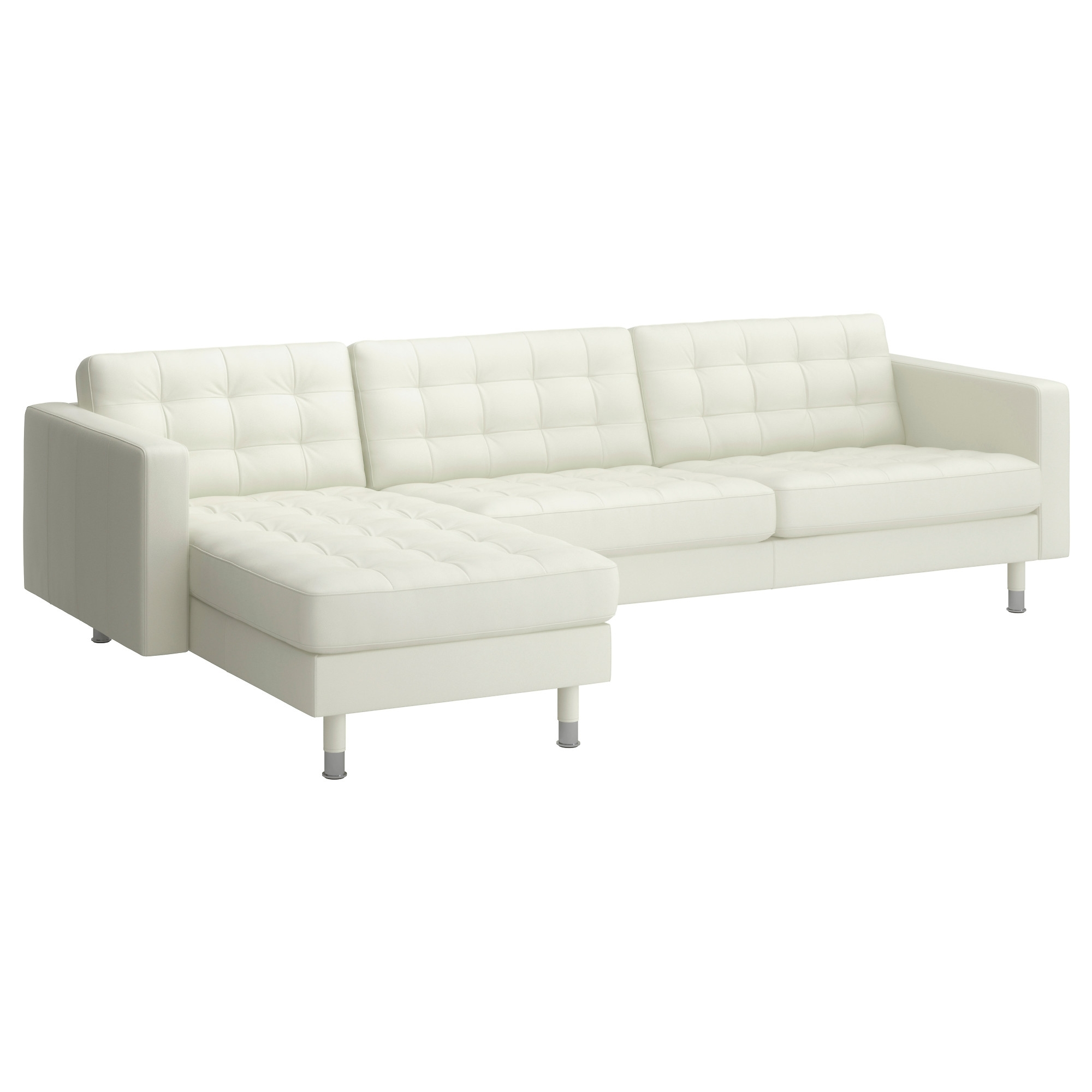 2018 White Leather Chaises Pertaining To Landskrona Sectional, 4 Seat – Grann/bomstad White, Metal – Ikea (View 3 of 15)
