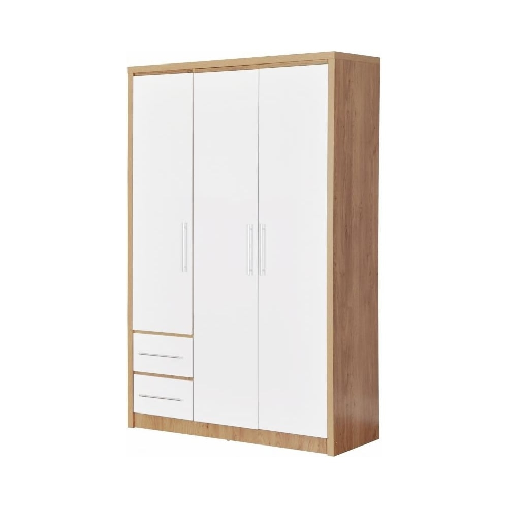 3 Door 2 Drawer Wardrobe In Light Oak Effect Veneer/white High Gloss With Regard To Trendy 3 Door White Wardrobes With Drawers (View 13 of 15)