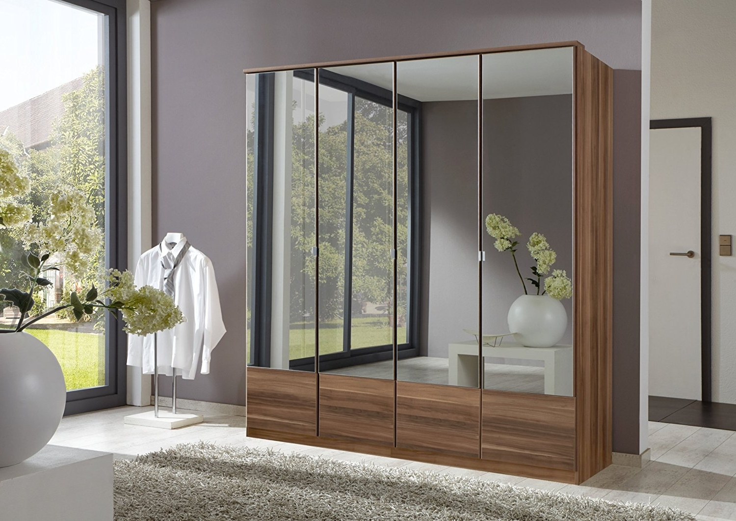 3 Door Mirrored Wardrobes With Regard To Well Known Imago 4 Door Mirrored Wardrobe: Amazon.co (View 4 of 15)