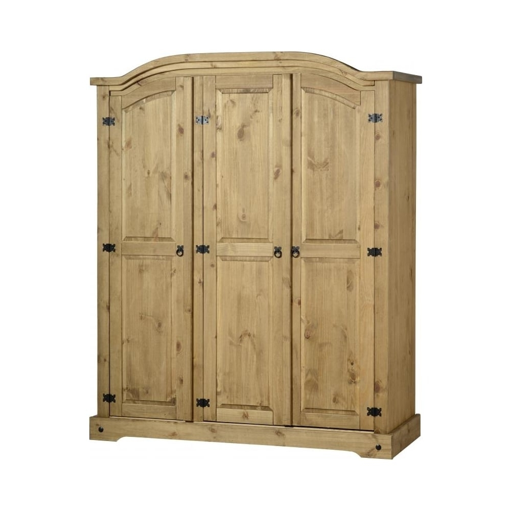 3 Door Wardrobe In Distressed Waxed Pine Pertaining To Most Recent Corona Wardrobes With 3 Doors (Gallery 10 of 15)