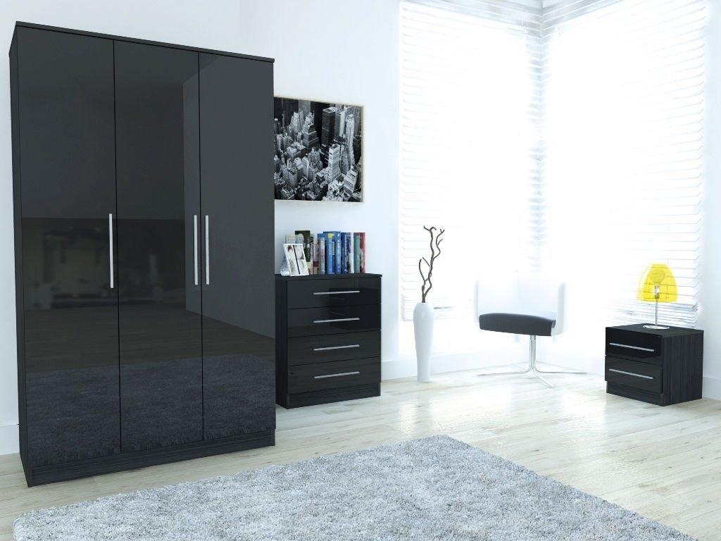 3 Door Wardrobe With Regard To Black Gloss 3 Door Wardrobes (View 6 of 15)