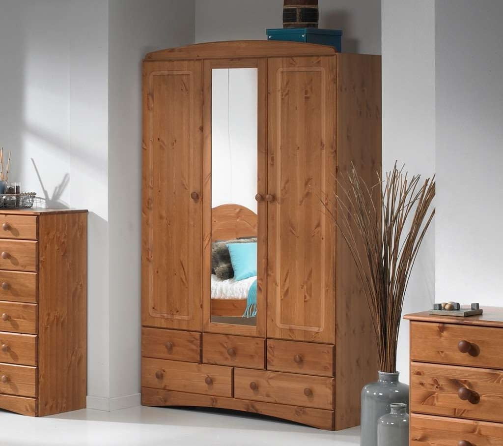 3 Doors Wardrobes With Mirror Pertaining To Preferred Room4 Scandi Pine 3 Door 5 Drawer Wardrobe With (Gallery 7 of 15)
