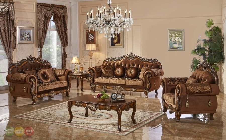 3 Pc Traditional Style Formal Living Room Furniture Brown Sofa Set Regarding Well Liked Traditional Sofas (View 5 of 10)