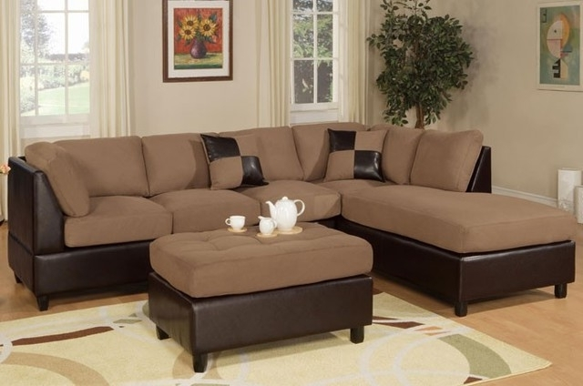 3 Pieces Hazelnut Microfiber Reversible Sectional Sofa Set Ottoman Inside Recent Sofas With Ottoman (View 1 of 10)