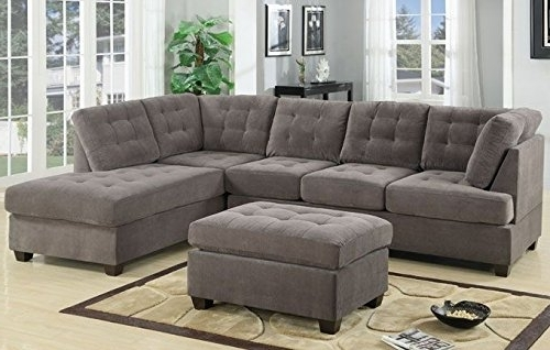 3Pc Modern Reversible Grey Charcoal Sectional Sofa Couch With For Well Known Sofas With Chaise And Ottoman (View 1 of 10)