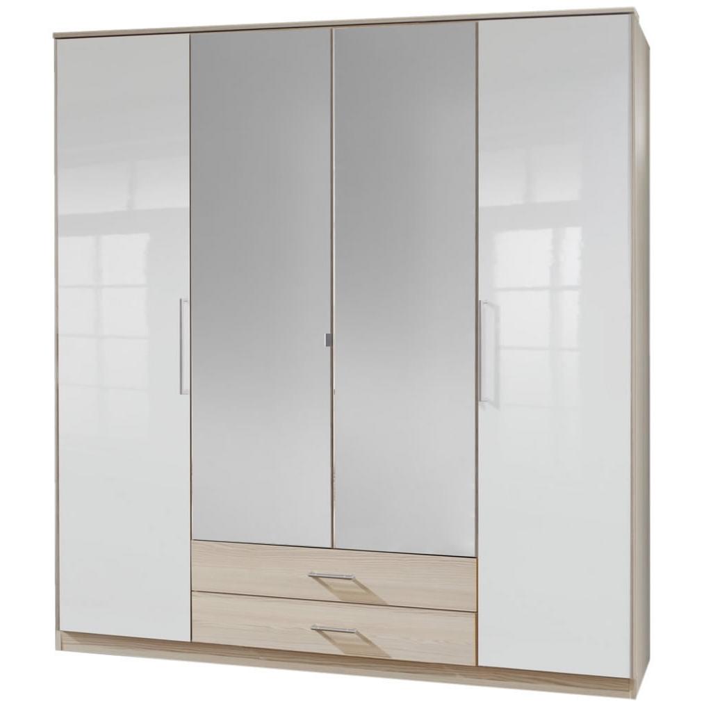 4 Door Mirrored Wardrobes Regarding Most Up To Date Gamma 4 Door 2 Drawer Mirrored Wardrobe – Oak – Next Day Delivery (View 9 of 15)