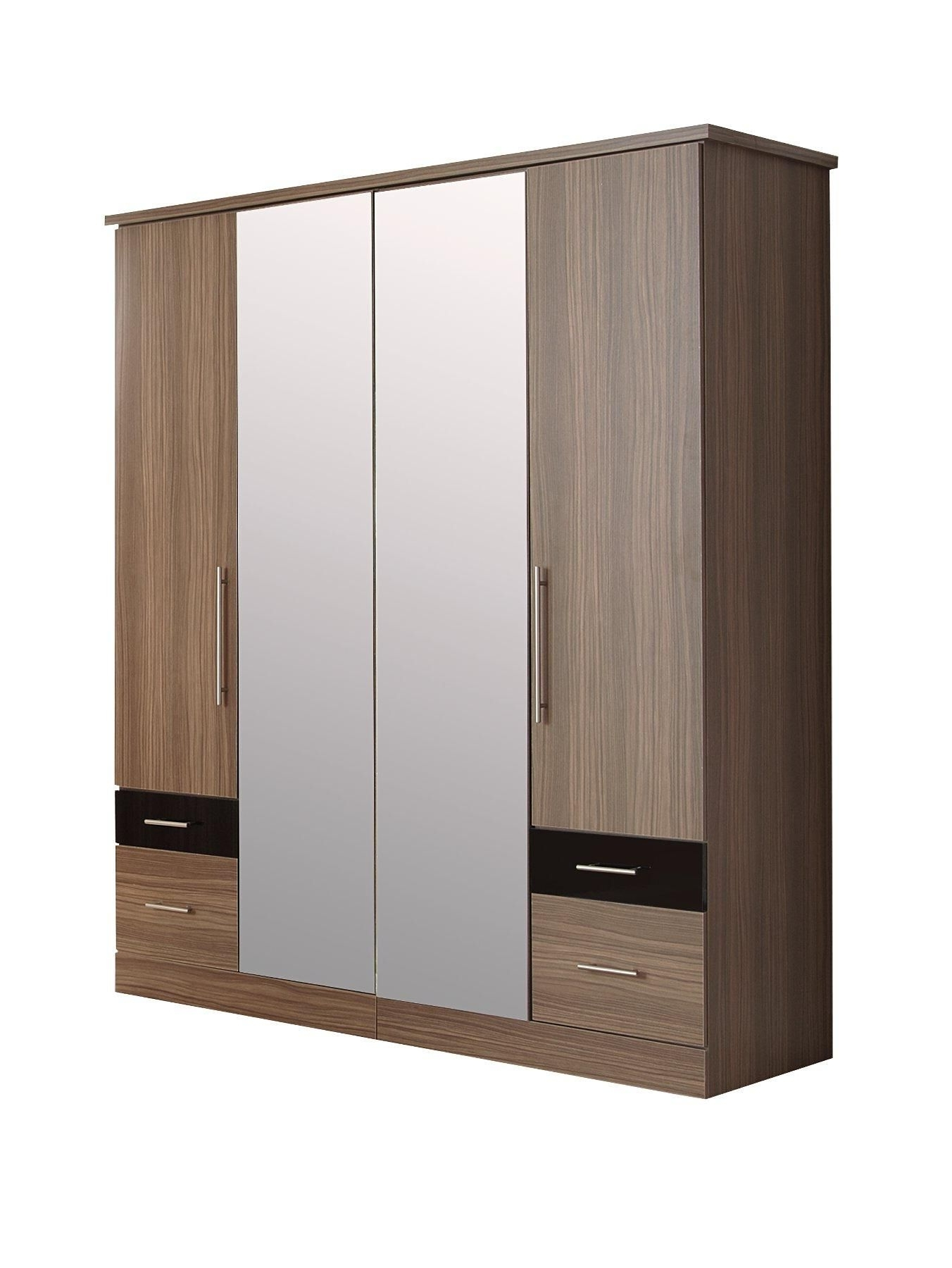 4 Door Wardrobes With Mirror And Drawers Throughout Widely Used Consort Eclipse 4 Door, 4 Drawer Wardrobe With Mirror (View 5 of 15)