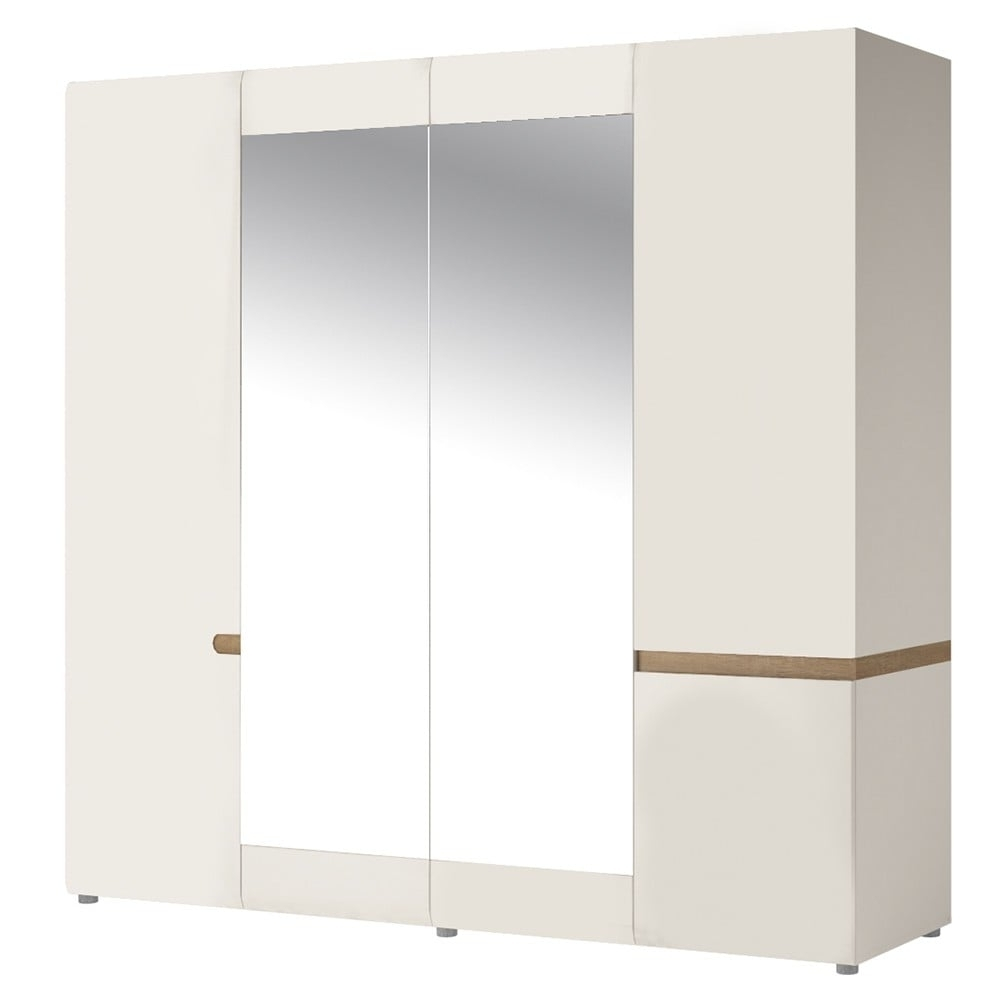 4 Door White Wardrobes In Latest Bedroom 4 Door Wardrobe With Mirrors In White With An Truffle Oak Trim (View 2 of 15)