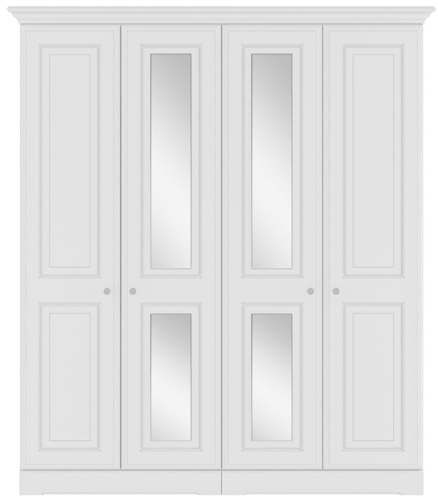 4 Door White Wardrobes With Most Up To Date Buy Kingstown Nicole White Wardrobe – 4 Door With Centre Mirror (View 3 of 15)