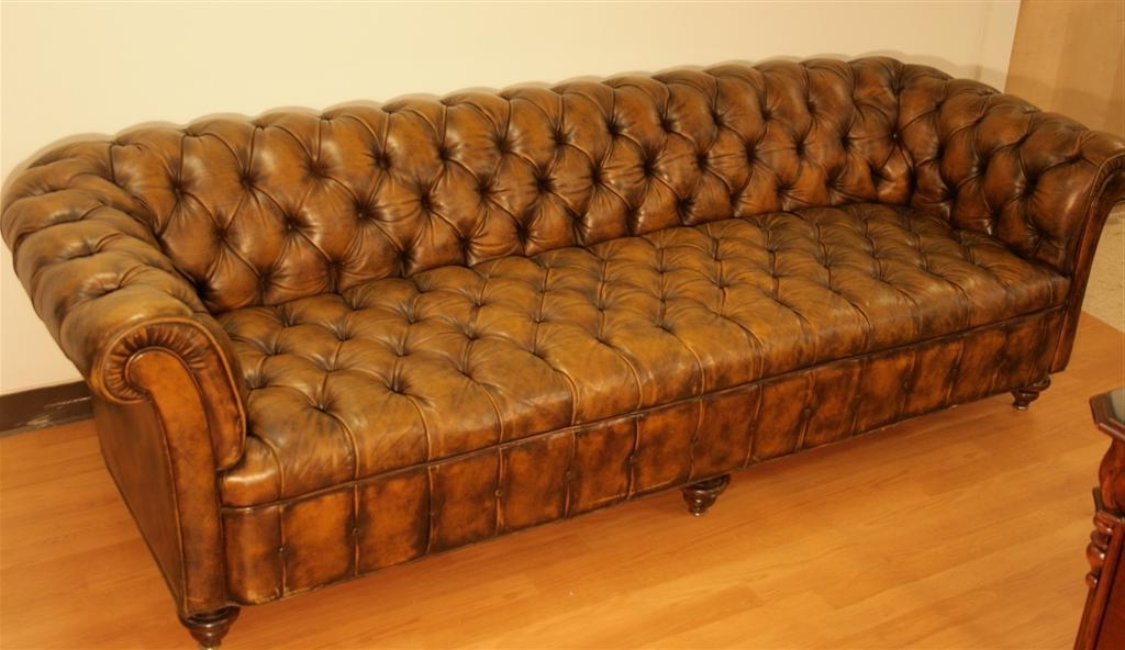 98 Inch Leather Tufted Chesterfield Sofathe Schoonbeck Co (View 3 of 10)