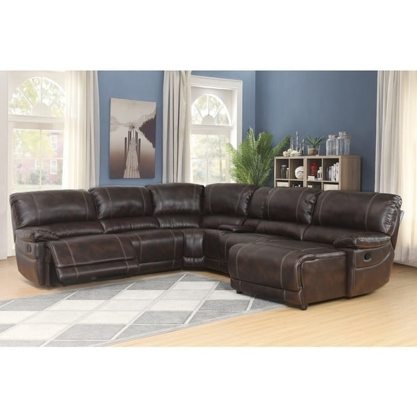 Abbyson Cooper 6 Piece Dark Brown Sectional Sofa – Free Shipping For Famous Abbyson Sectional Sofas (View 2 of 15)