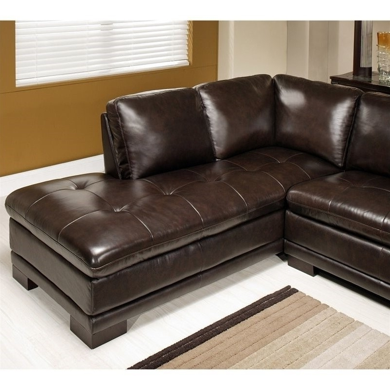 Abbyson Living Tekana 2 Piece Leather Sectional In Dark Brown – Ci Intended For Preferred Abbyson Sectional Sofas (View 7 of 15)