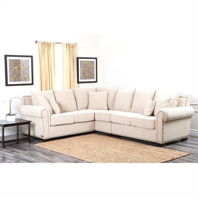 Beau Abbyson Sectional Sofas In Well Liked Abbyson Living Bromley Fabric  Nailhead Sectional Sofa In Sandstone (