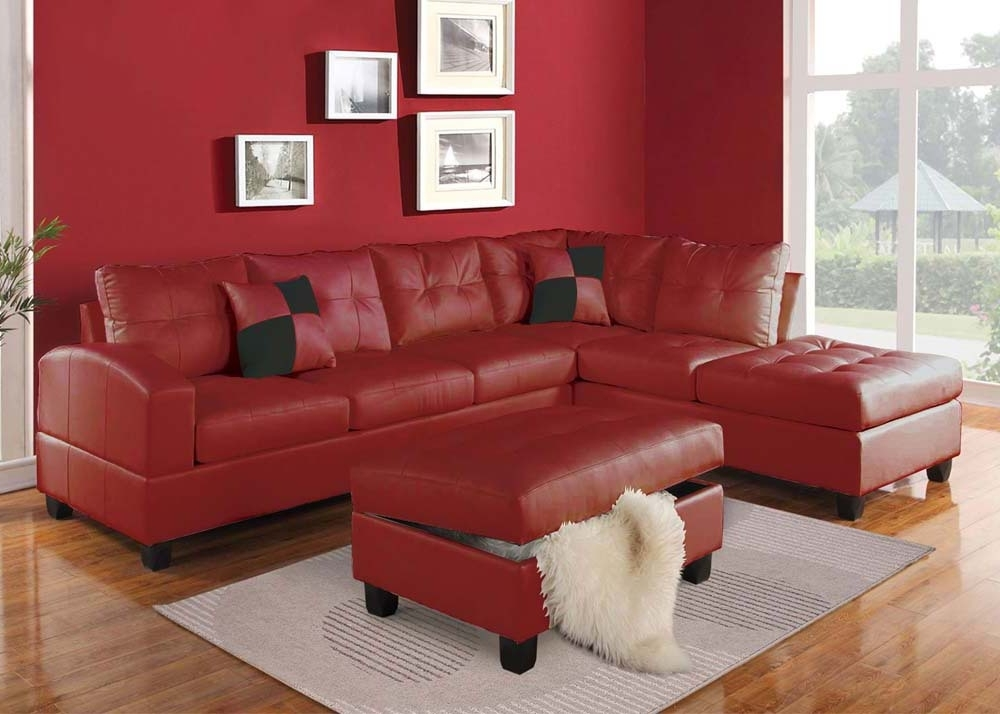 Acme Furniture Kiva 51185 Red Bonded Leather Reversible Sectional With Preferred Red Leather Sectional Couches (View 2 of 10)