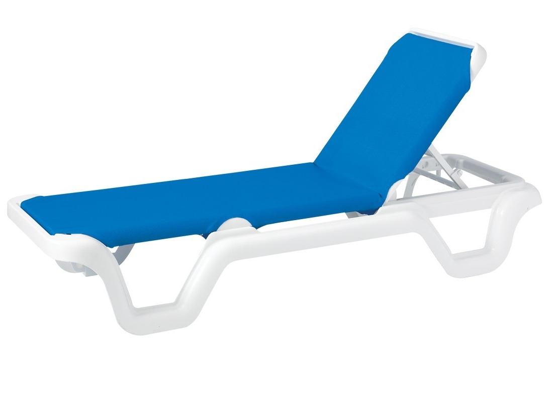 Adjustable Sling Chaise Lounge Blue Within Current Grosfillex Chaise Lounge Chairs (View 5 of 15)