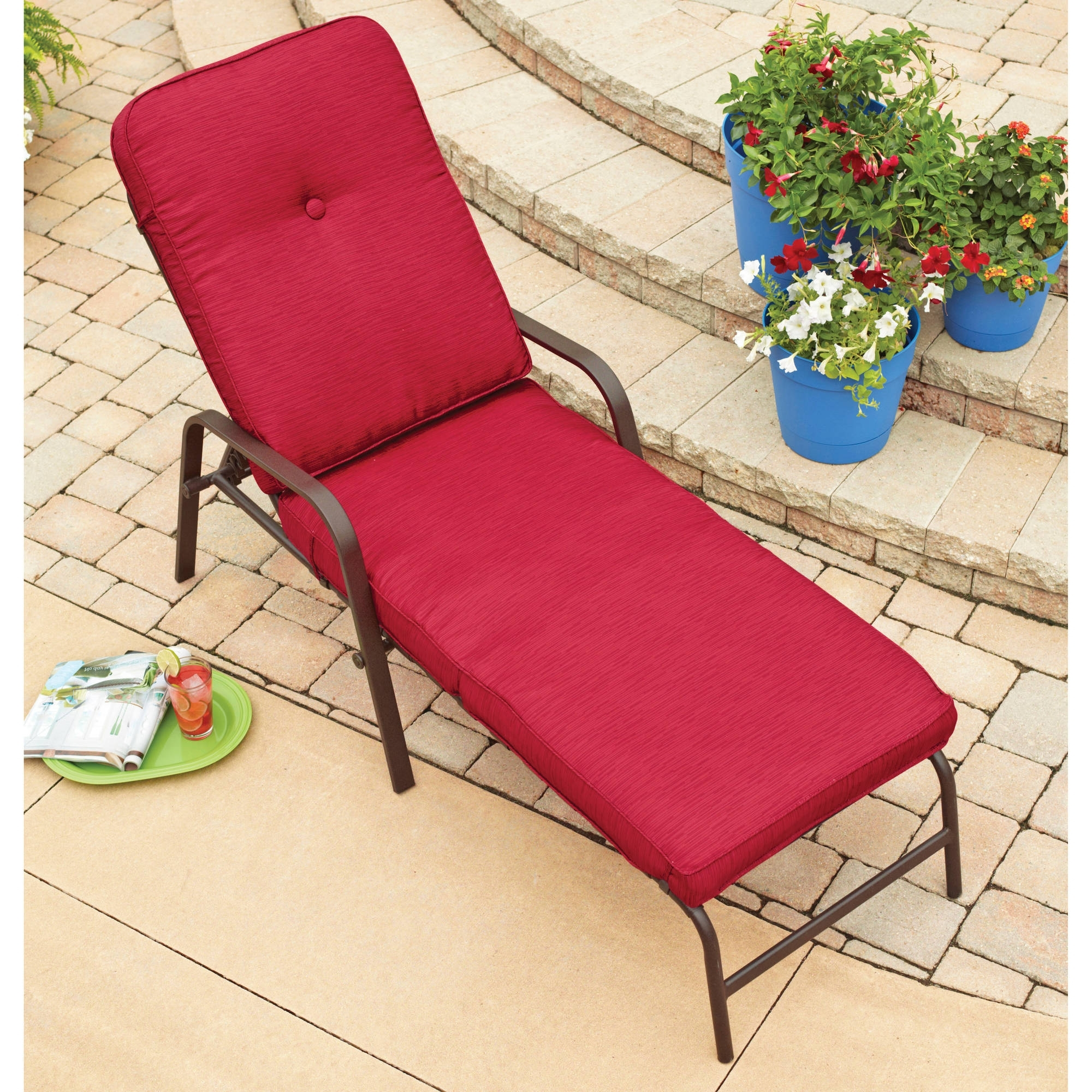 Alluring Patio Chaise Lounge Walmart On Red Outdoor Lounge Chairs Throughout 2017 Outdoor Chaise Lounge Chairs At Walmart (View 12 of 15)
