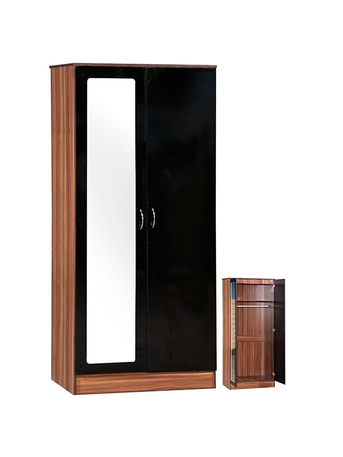 Alpha High Gloss 2 Door Wardrobe With Mirror, Shelf And Hanging Inside Trendy Black Gloss Wardrobes (View 2 of 15)