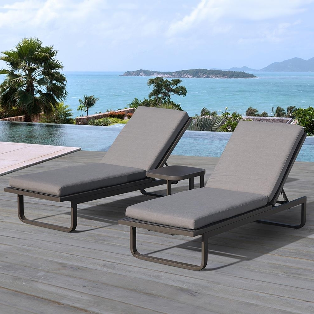 Aluminum Chaise Lounges Pertaining To Popular Ove Decors Vienna 2 Piece Aluminum Outdoor Chaise Lounge With Gray (View 7 of 15)
