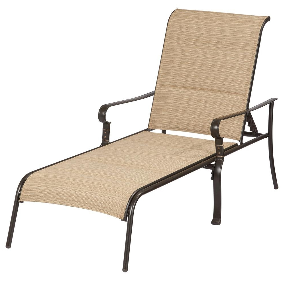 Aluminum Chaise Lounges Regarding Favorite Hampton Bay Belleville Padded Sling Outdoor Chaise Lounge (View 6 of 15)