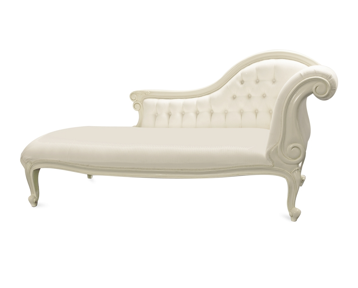 Amazing Of White Chaise Lounge With Chairs White Indoor Double With 2017 White Chaise Lounges (View 1 of 15)