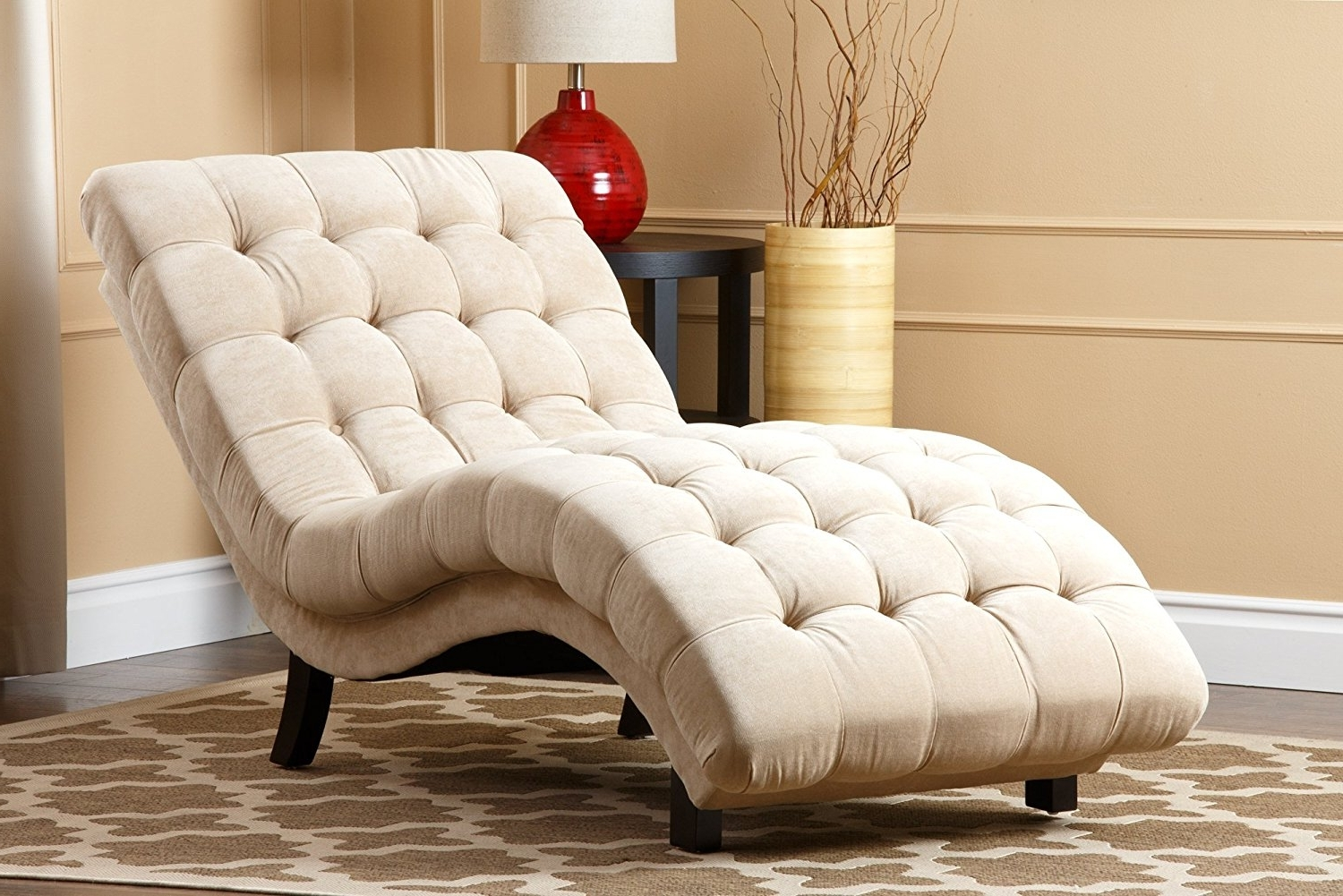 Amazon: Abbyson Carmen Cream Fabric Chaise: Home & Kitchen Intended For Popular Upholstered Chaise Lounges (View 13 of 15)