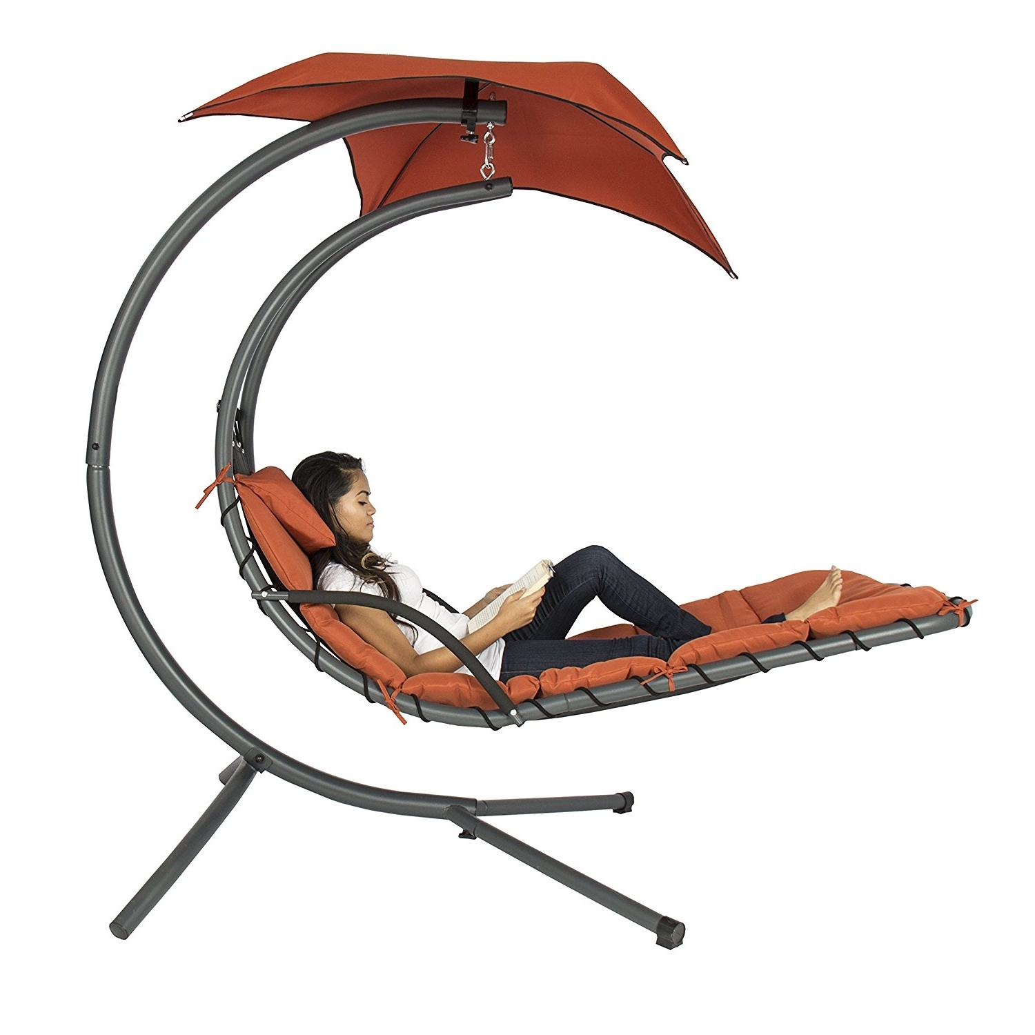Amazon: Best Choice Products Hanging Chaise Lounger Chair Arc With Most Up To Date Chaise Lounge Swing Chairs (View 9 of 15)