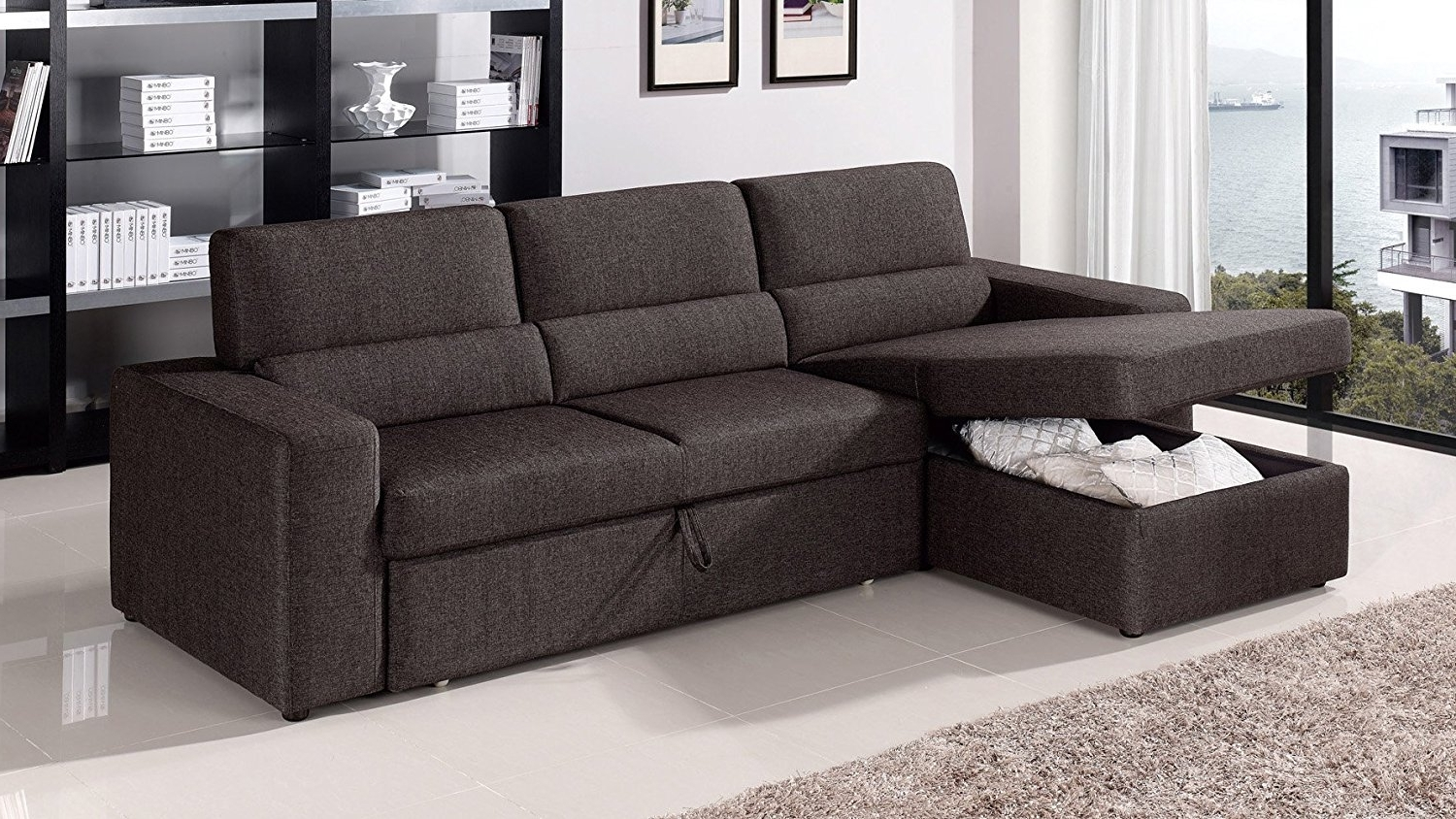 Amazon: Black/brown Clubber Sleeper Sectional Sofa – Left Inside Trendy Chaise Sofas (View 15 of 15)